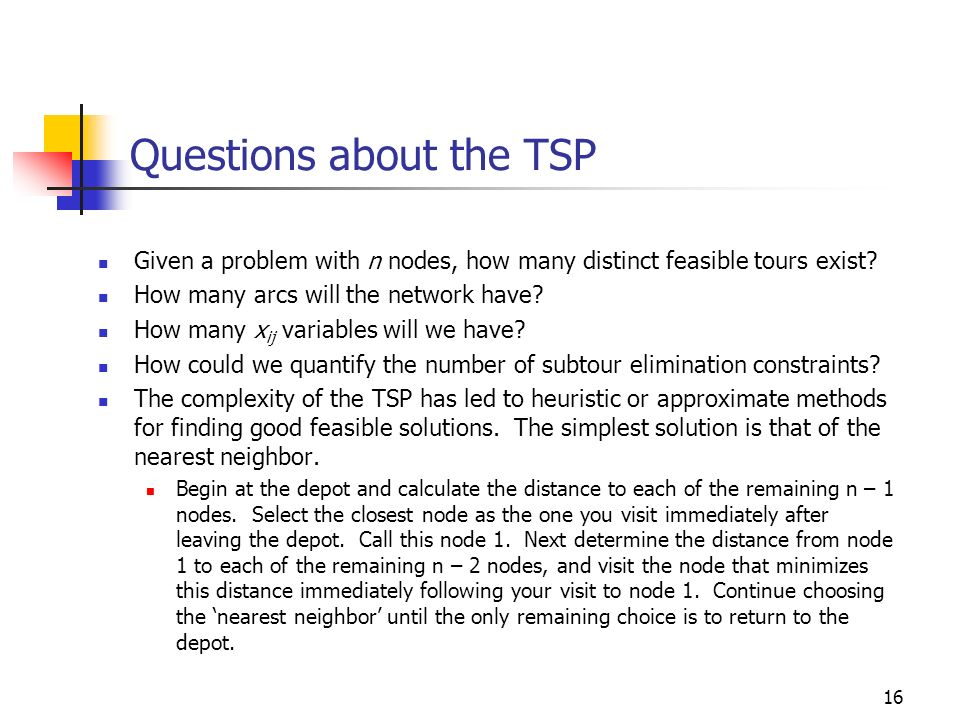 Questions about the TSP
