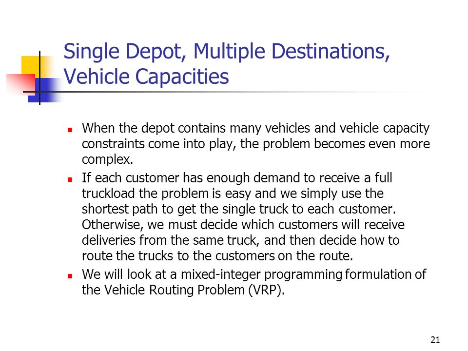 Single Depot, Multiple Destinations, Vehicle Capacities