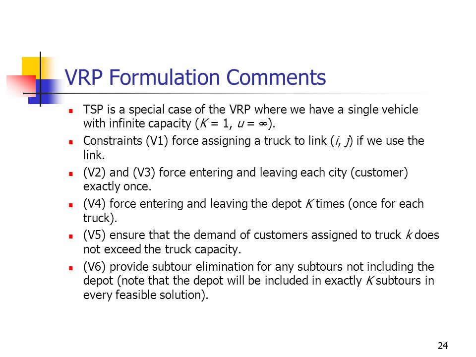 VRP Formulation Comments