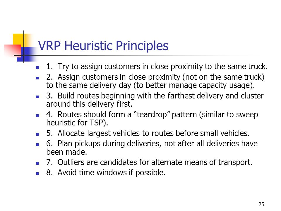 VRP Heuristic Principles