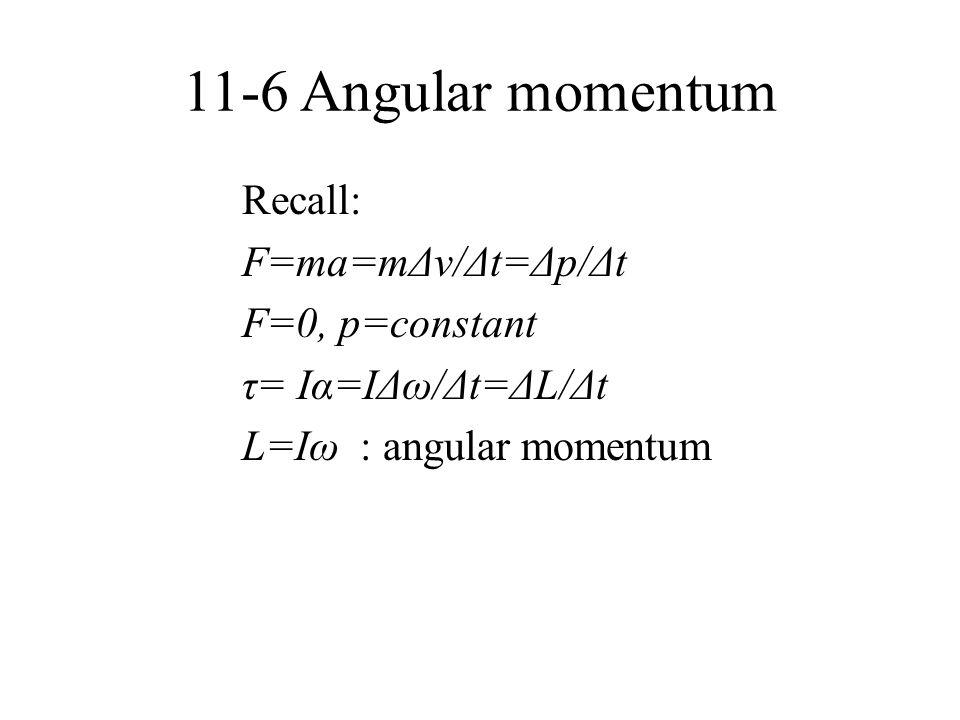 11-6 Angular momentum Recall: F=ma=mΔv/Δt=Δp/Δt F=0, p=constant τ= Iα=IΔω/Δt=ΔL/Δt L=Iω : angular momentum