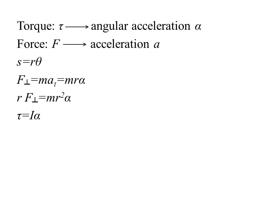 Torque: τ angular acceleration α Force: F acceleration a s=rθ F┴=mat=mrα r F┴=mr2α τ=Iα
