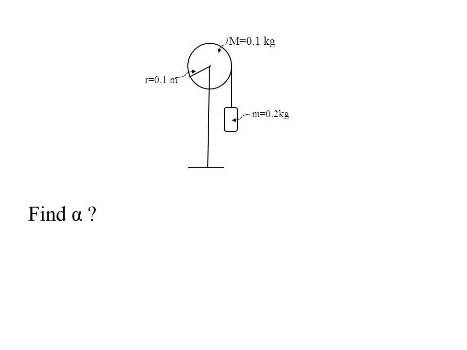 M=0.1 kg r=0.1 m m=0.2kg Find α