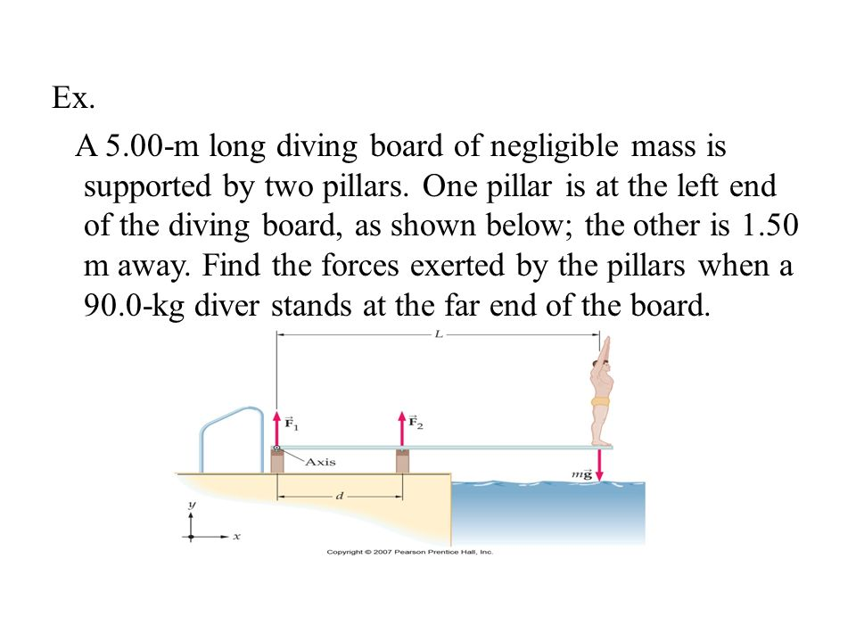 Ex. A 5.00-m long diving board of negligible mass is supported by two pillars.