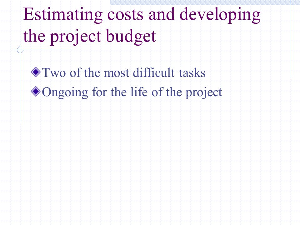 Estimating costs and developing the project budget