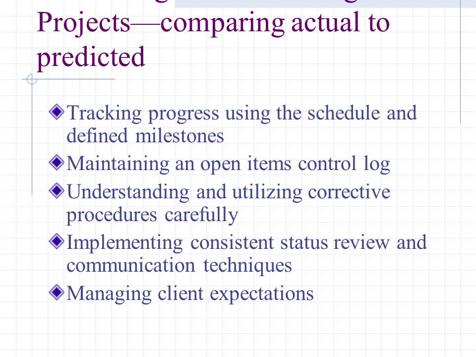 Monitoring and Controlling Projects—comparing actual to predicted