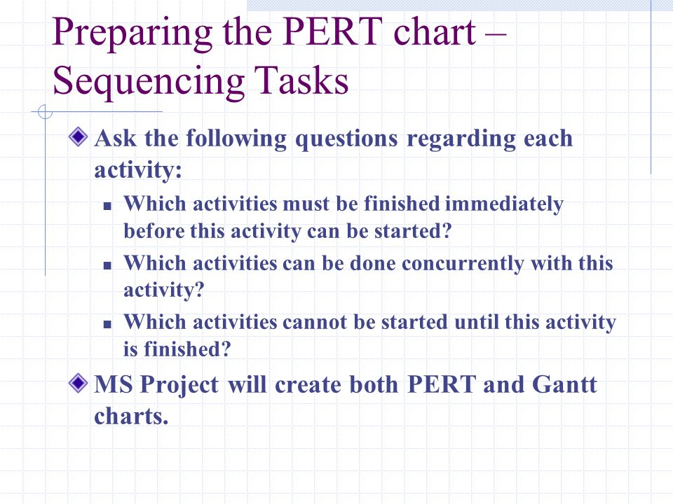 Preparing the PERT chart – Sequencing Tasks