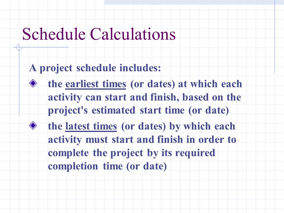 Schedule Calculations