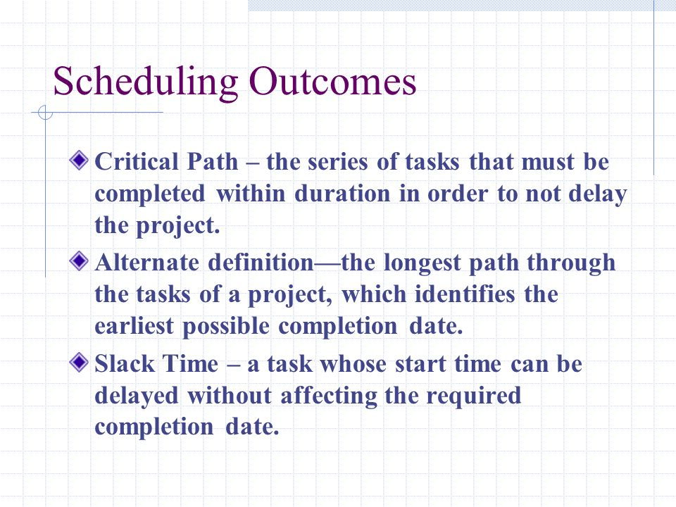 Scheduling Outcomes Critical Path – the series of tasks that must be completed within duration in order to not delay the project.