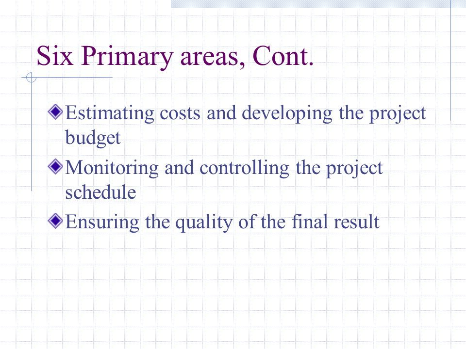 Six Primary areas, Cont. Estimating costs and developing the project budget. Monitoring and controlling the project schedule.