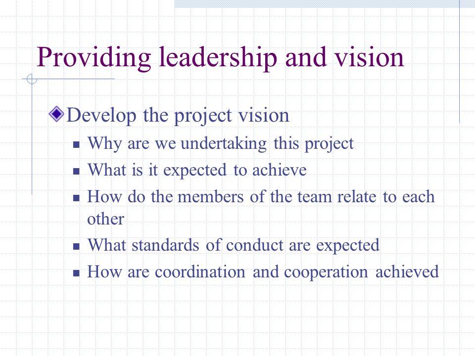 Providing leadership and vision