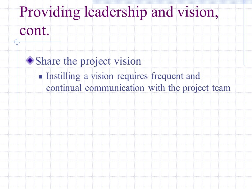 Providing leadership and vision, cont.