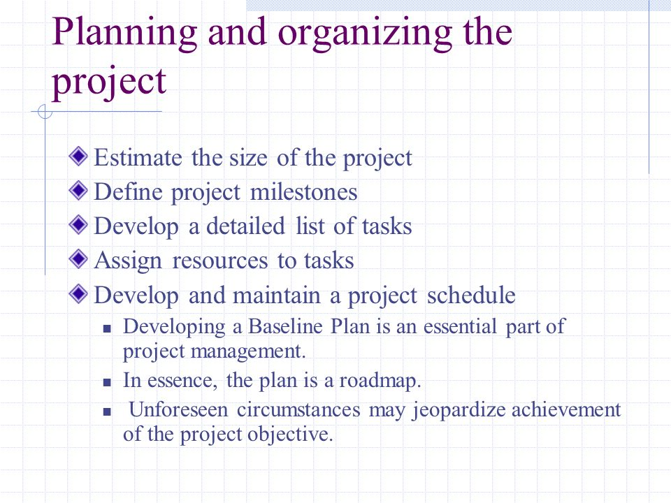 Planning and organizing the project