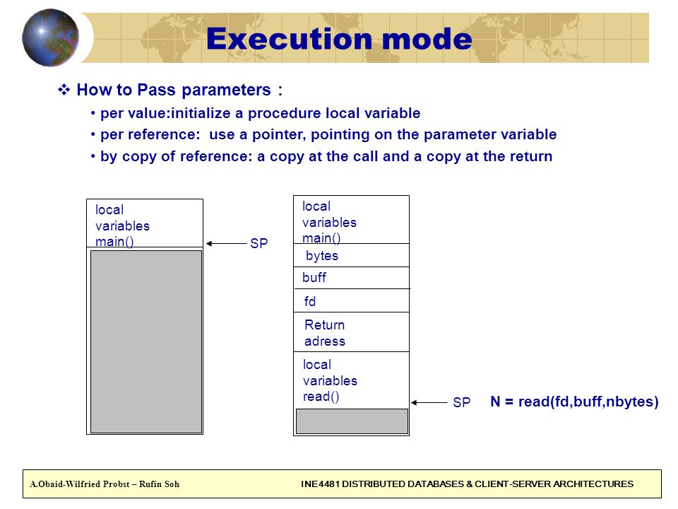 Execution mode How to Pass parameters :