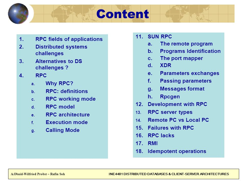 Content SUN RPC RPC fields of applications The remote program