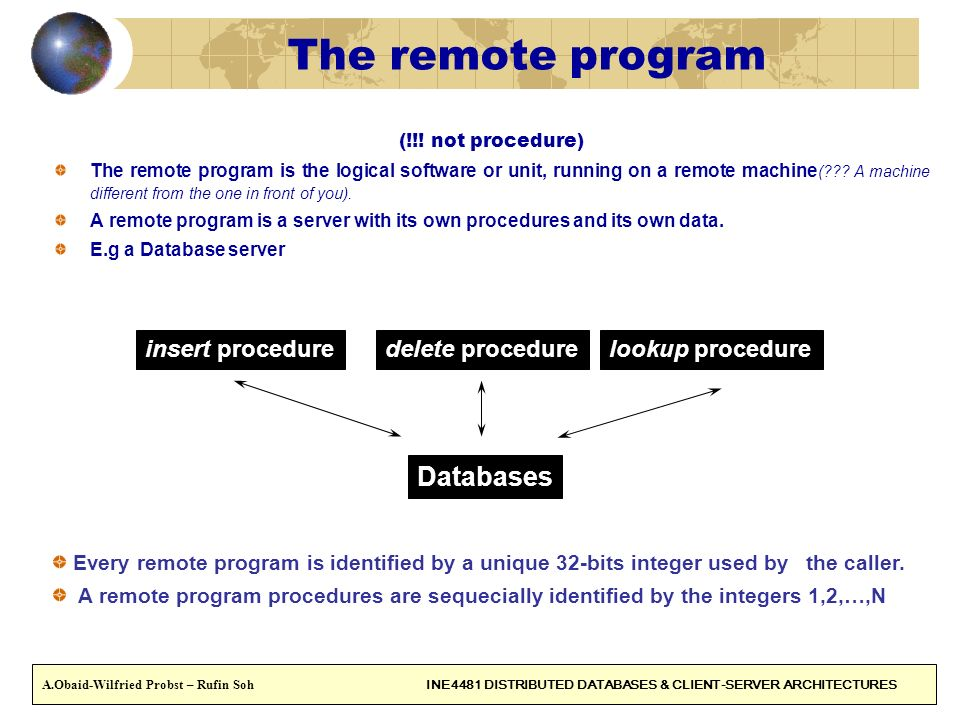 The remote program Databases insert procedure delete procedure