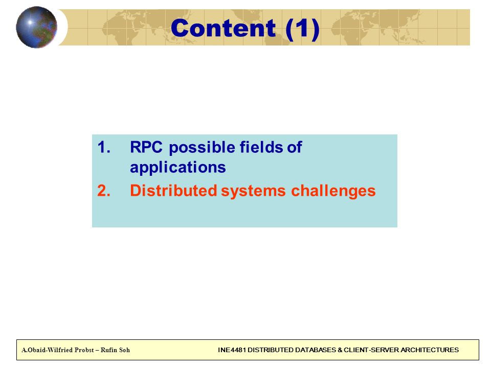 Content (1) RPC possible fields of applications