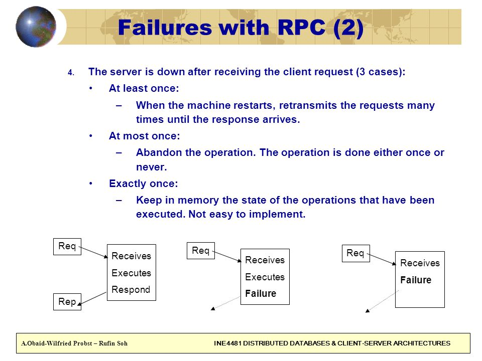 Failures with RPC (2) The server is down after receiving the client request (3 cases): At least once: