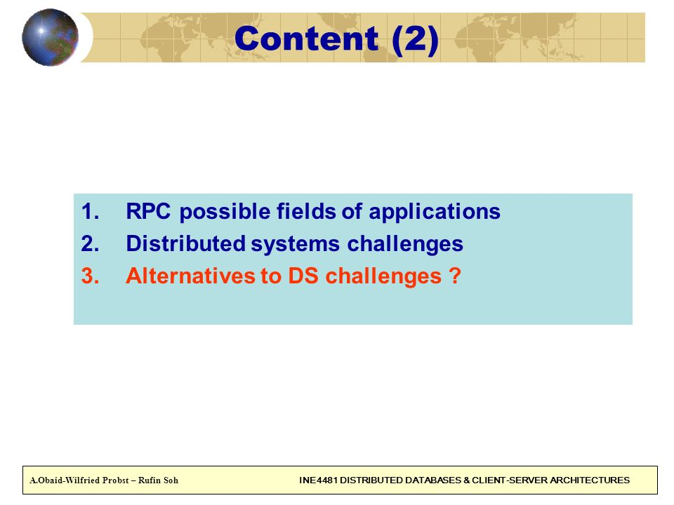 Content (2) RPC possible fields of applications