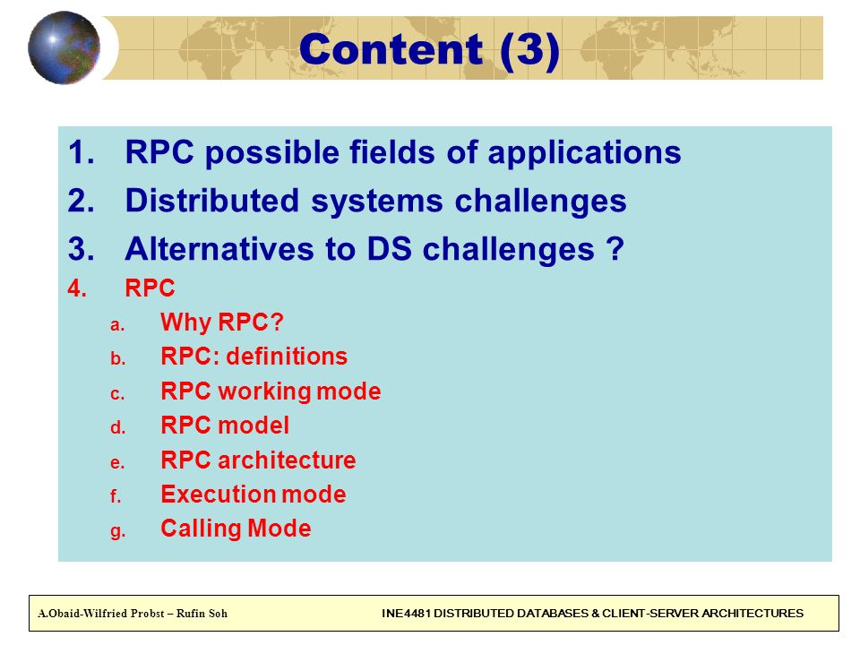 Content (3) RPC possible fields of applications