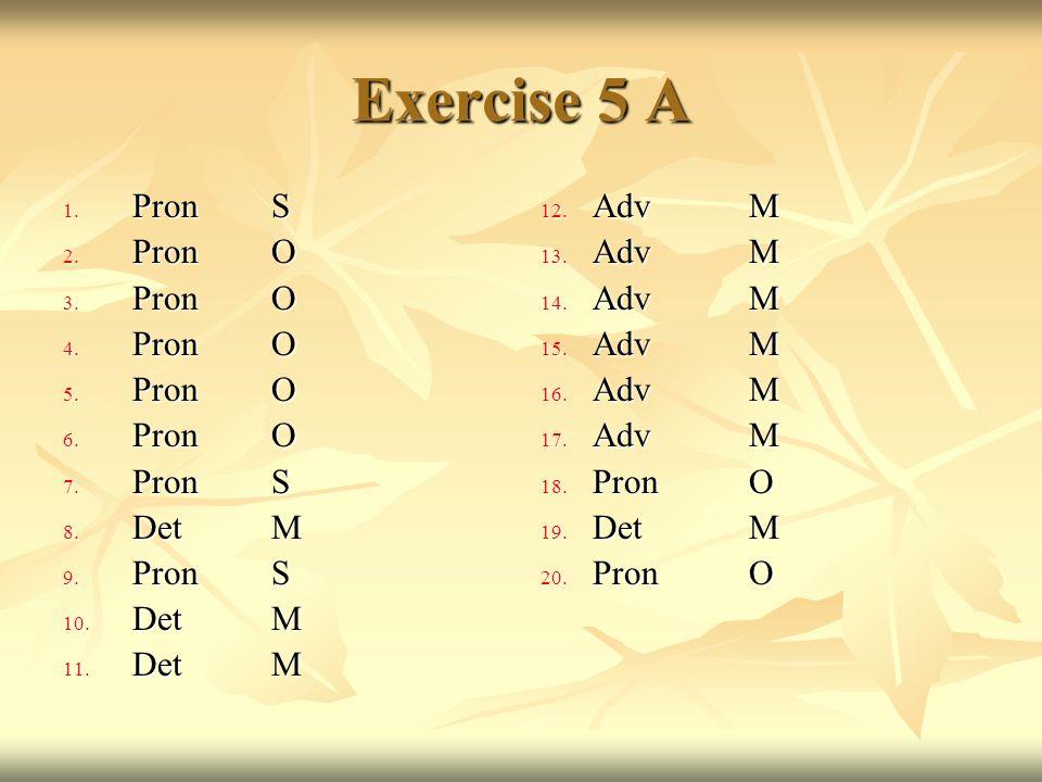 Exercise 5 A Pron S Pron O Det M Adv M Pron O Det M