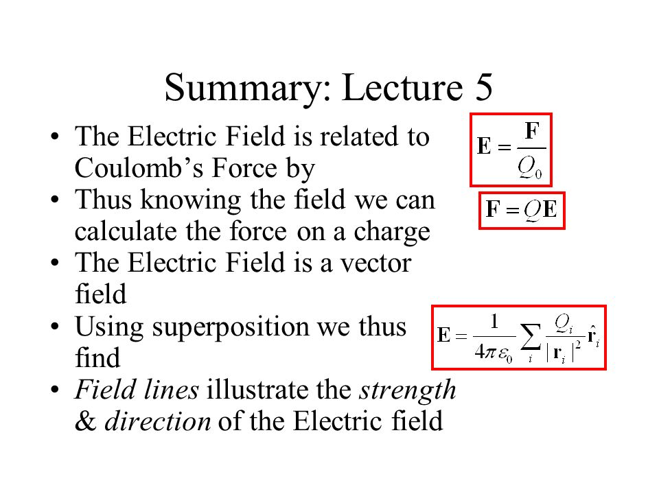 Summary: Lecture 5 The Electric Field is related to Coulomb's Force by