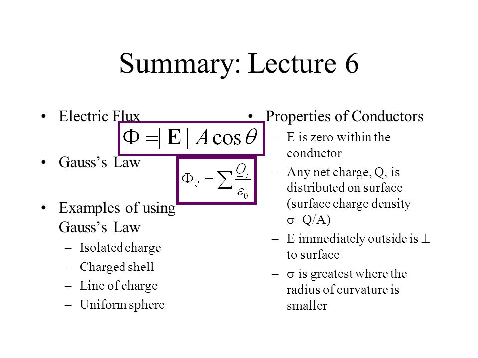 Summary: Lecture 6 Electric Flux Gauss's Law