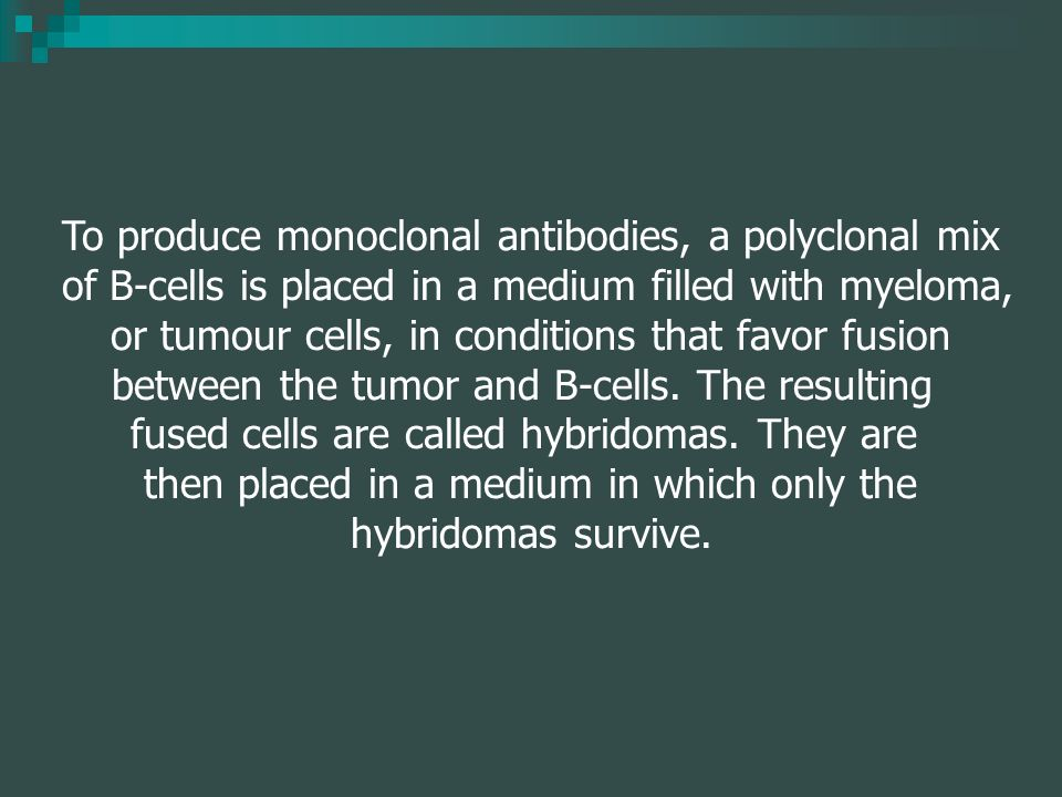 To produce monoclonal antibodies, a polyclonal mix