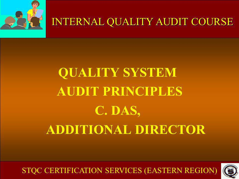 QUALITY SYSTEM AUDIT PRINCIPLES C. DAS, ADDITIONAL DIRECTOR