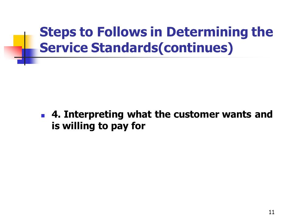 Steps to Follows in Determining the Service Standards(continues)