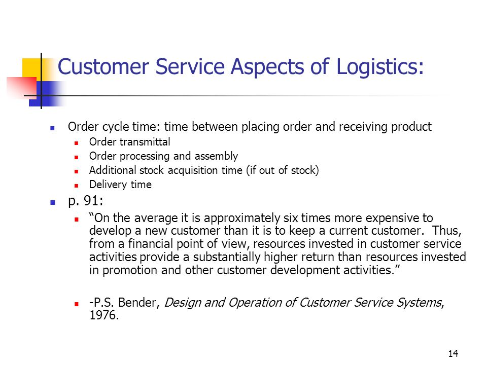 Customer Service Aspects of Logistics: