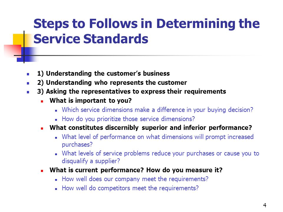 Steps to Follows in Determining the Service Standards