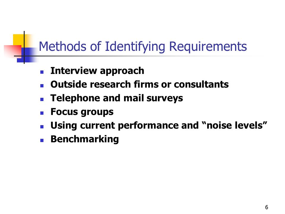 Methods of Identifying Requirements