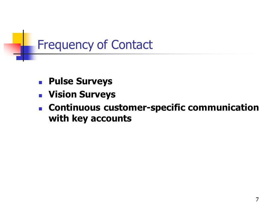 Frequency of Contact Pulse Surveys Vision Surveys