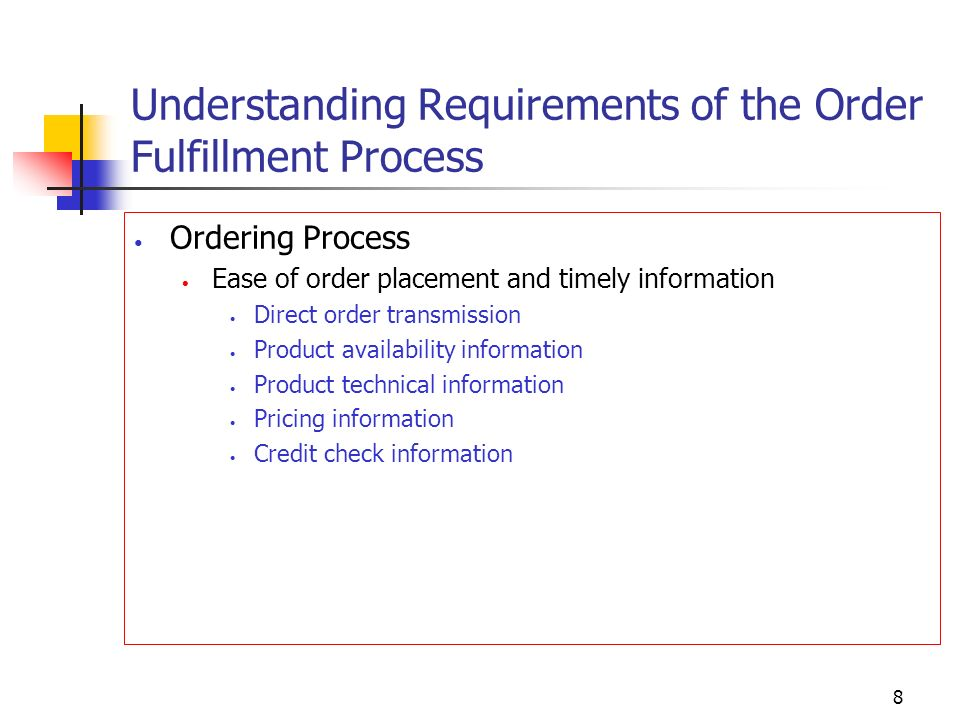 Understanding Requirements of the Order Fulfillment Process