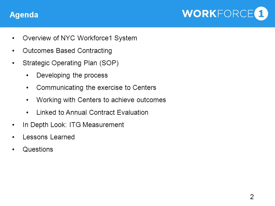 Agenda Overview of NYC Workforce1 System Outcomes Based Contracting