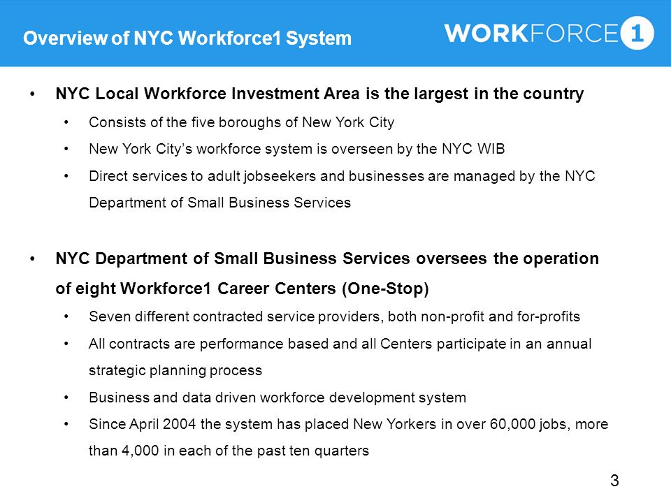 Overview of NYC Workforce1 System