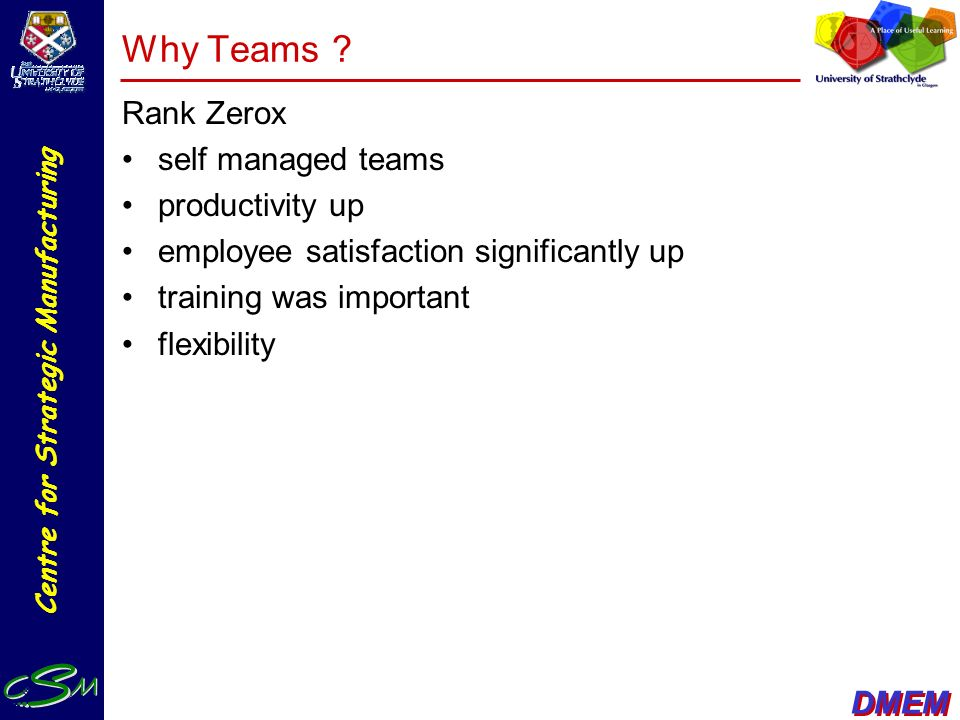 Why Teams Rank Zerox self managed teams productivity up
