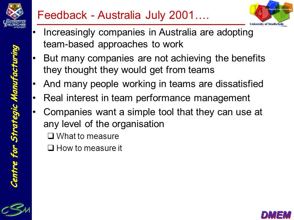 Feedback - Australia July 2001….