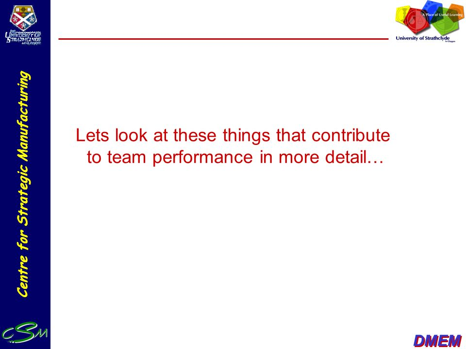 Lets look at these things that contribute to team performance in more detail…