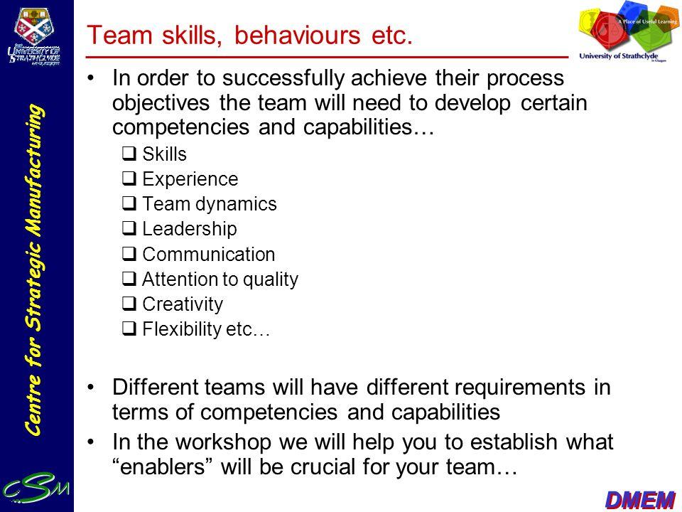 Team skills, behaviours etc.