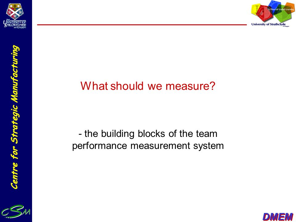 - the building blocks of the team performance measurement system