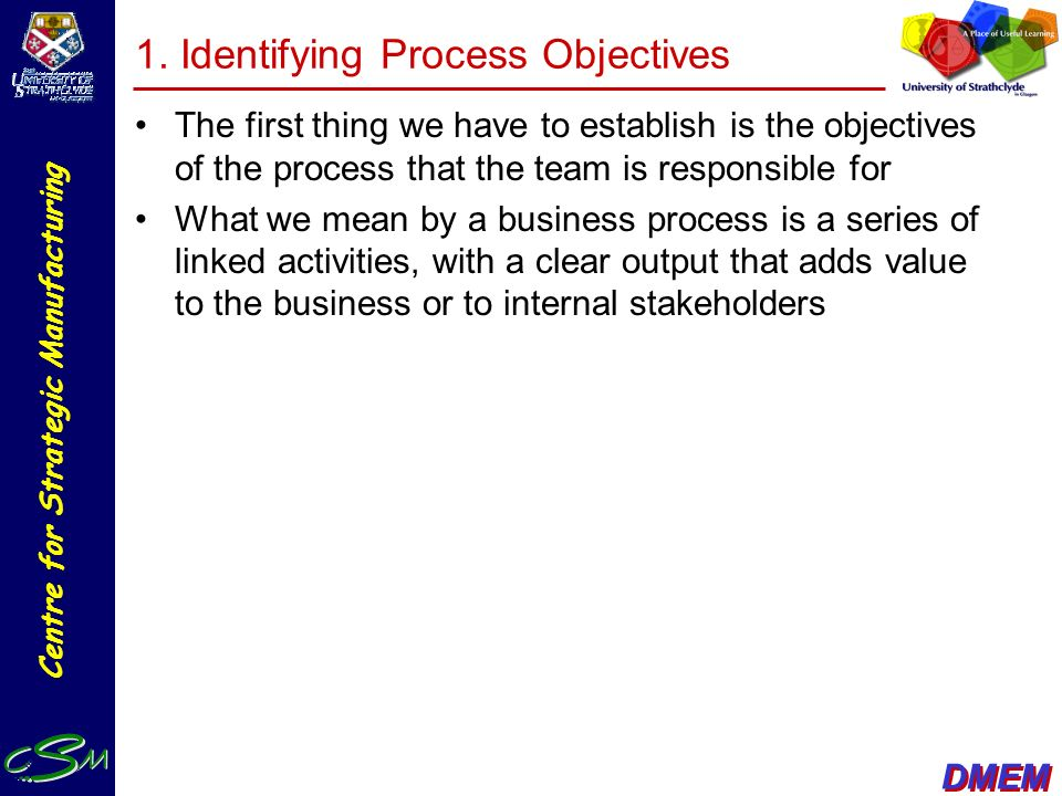 1. Identifying Process Objectives
