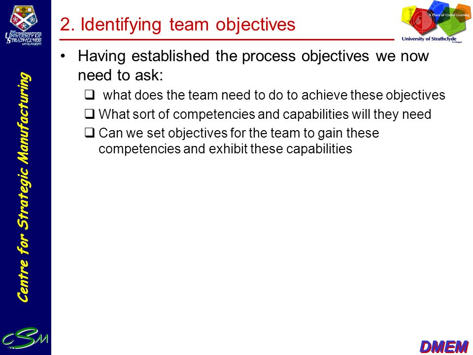 2. Identifying team objectives