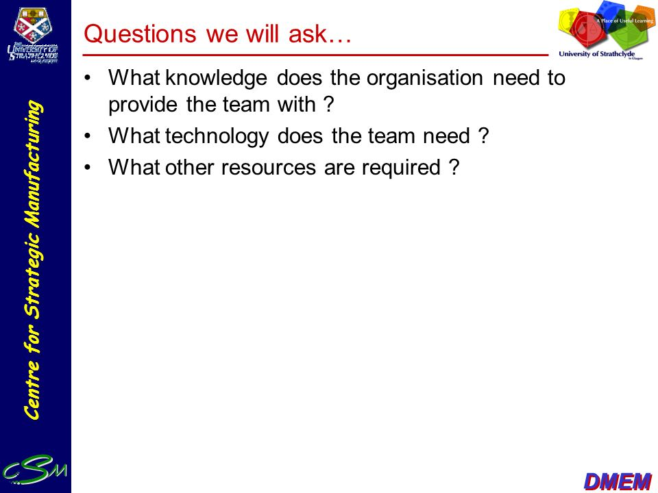 Questions we will ask… What knowledge does the organisation need to provide the team with What technology does the team need