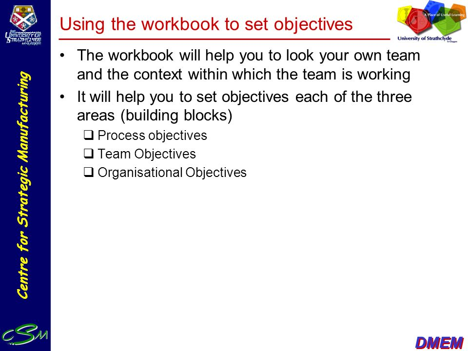Using the workbook to set objectives