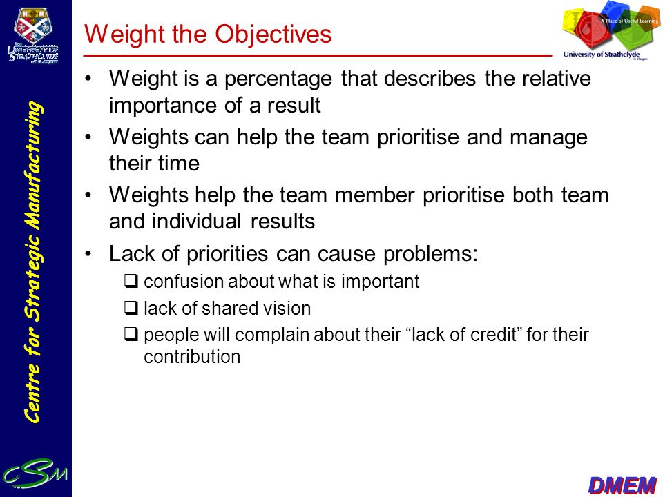 Weight the Objectives Weight is a percentage that describes the relative importance of a result.