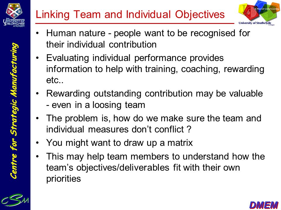 Linking Team and Individual Objectives