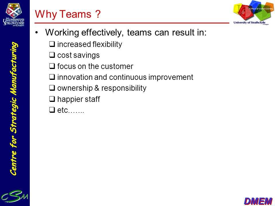 Why Teams Working effectively, teams can result in: