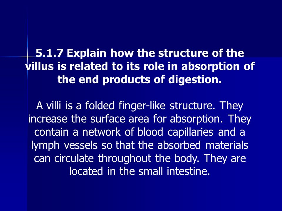 5.1.7 Explain how the structure of the villus is related to its role in absorption of the end products of digestion.
